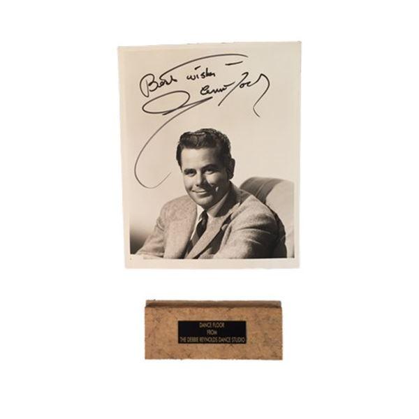 Glenn Ford Signed Photo with Debbie Reynolds Dance Studio Floor Piece