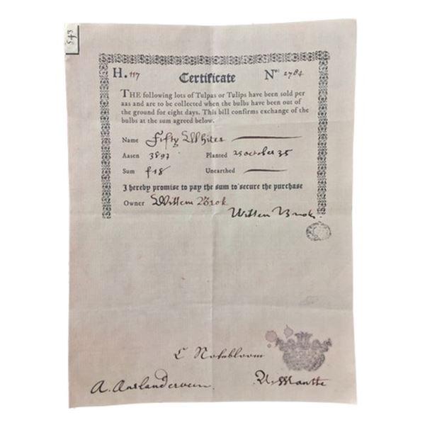 Tulip Fever Jan Van Loos (Dane DeHaan) Certificate to Pay Movie Props