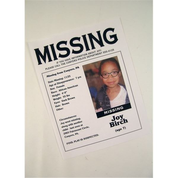 Prisoners Joy Birch Missing Flyer Movie Props