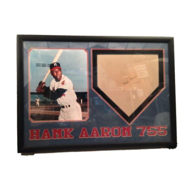 Hank Aaron Signed Home Plate Framed