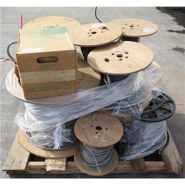 Pallet of Multiple Spools Coaxial Cable, Wire, etc & Box PVC Jacket RoHS