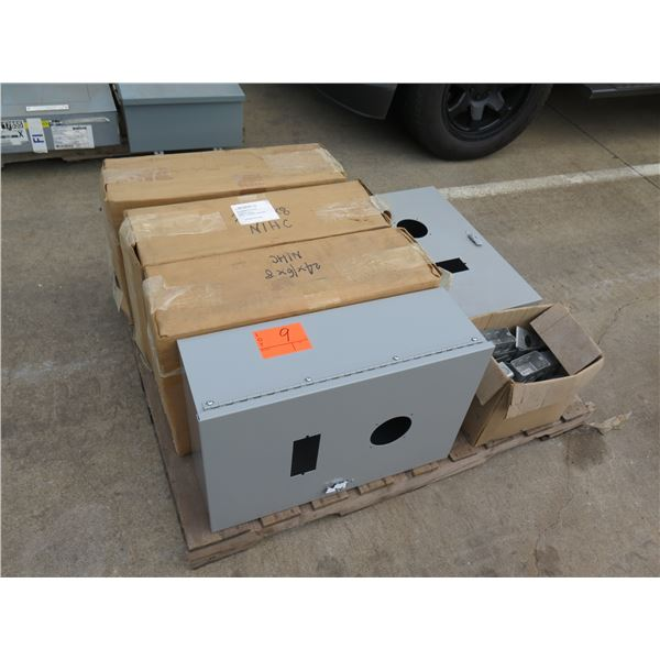 Qty 5 Enclosed Circuit Breaker Boxes & Multiple Metal Utility Boxes