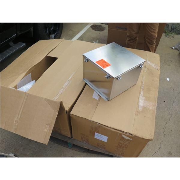 "Qty 9 Stainles Steel Boxes 11""x9"", 14x14x10 NX4 JIC Encl"