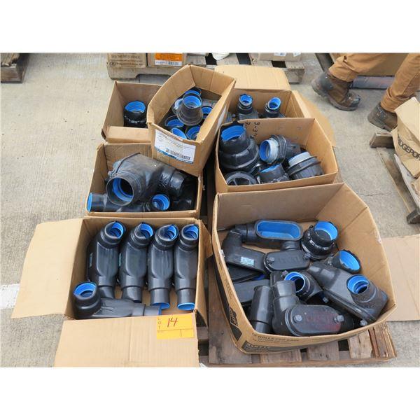Qty 7 Boxes Thomas & Betts Ocal Blue Conduit Body Misc Sizes