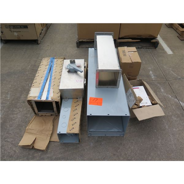 Multiple Boxes GE Safety Switches, Breaker Box, Square Conduit Ducts, etc