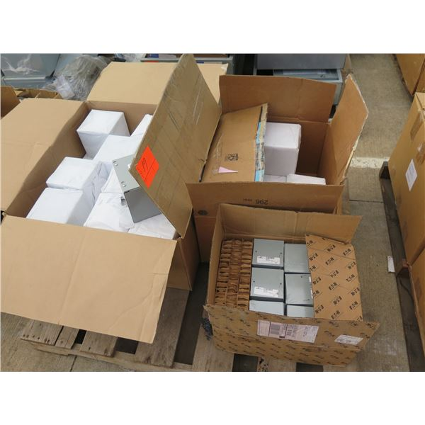 Qty 3 Boxes CooperB-Line Junction Boxes, Gaylord Mfg Pull Boxes, etc