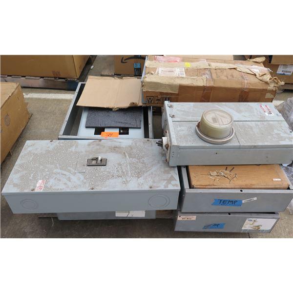 Pallet Multiple GE A-Series Panelboards, Junction Boxes (1 w/ Meter), etc