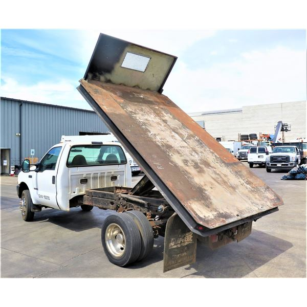 Ford 2004 F450 Super Duty Diesel Dually Truck w/ Dump Flatbed 74600.9 Miles (Runs, Drives, Bed Lifts