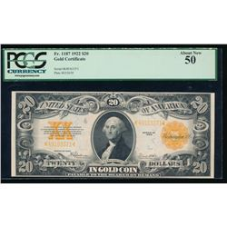 1922 $20 Gold Certificate PCGS 50