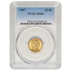1907 $2.5 Liberty Gold Coin PCGS MS65
