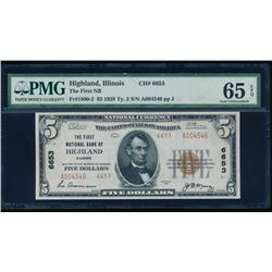 1929 $5 Highland IL National Bank Note PMG 65EPQ