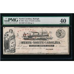 1862 $5 Raleigh NC Obsolete Note PMG 40