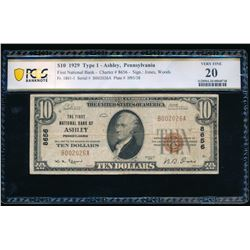 1929 $10 Ashley PA National Note PCGS 20