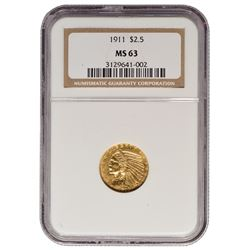 1911 $2.5 Indian Head Gold Coin NGC MS63