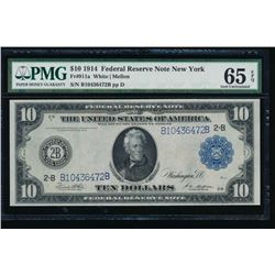 1914 $10 New York Federal Reserve Note PMG 65EPQ