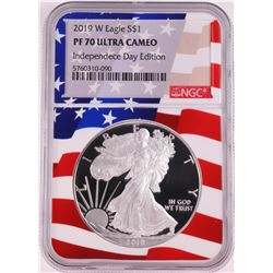 2019-W $1 Proof American Silver Eagle Coin NGC PF70 Ultra Cameo Independence Day Flag