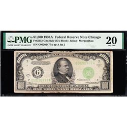 1934A $1000 Chicago FRN PMG 20