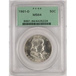 1961-D Franklin Half Dollar Coin PCGS MS64 Old Green Holder