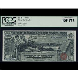 1896 $1 Educational Silver Certificate PCGS 45PPQ
