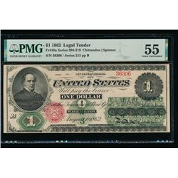 1862 $1 Legal Tender Note PMG 55