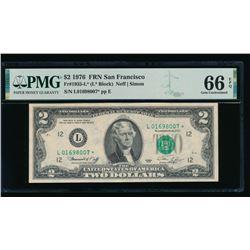 1976 $2 San Francisco STAR FRN PMG 66EPQ