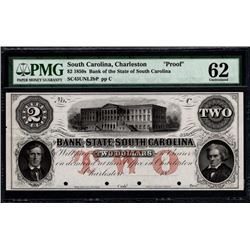 1850's $2 Charleston SC Obsolete Note PMG 62