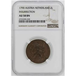 1790 Austria Netherland 2 Liards Insurrection Coin NGC AU58BN