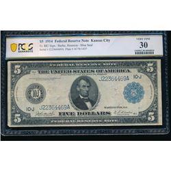 1914 $5 Kansas City FRN PCGS 30