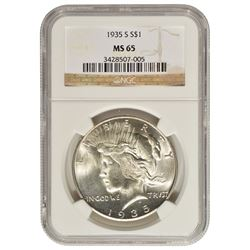 1935-S $1 Peace Silver Dollar Coin NGC MS65