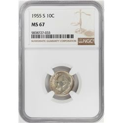 1955-S Roosevelt Dime Coin NGC MS67