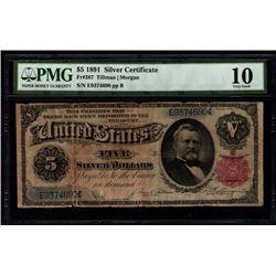1891 $5 Silver Certificate PMG 10