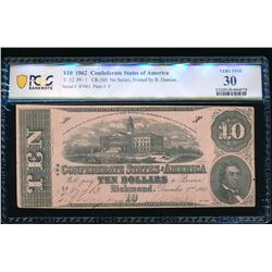 1862 $10 T-52 Confederate PCGS 30