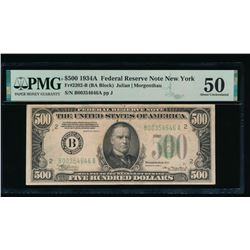 1934A $500 New York FRN PMG 50
