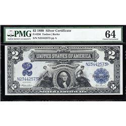 1899 $2 Mini Porthole Silver Certificate PMG 64