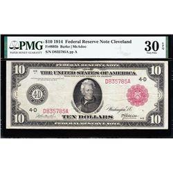 1914 $10 Red Seal Cleveland FRN PMG 30EPQ