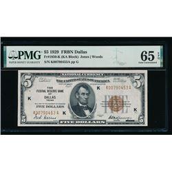1929 $5 Dallas National Bank Note PMG 65EPQ