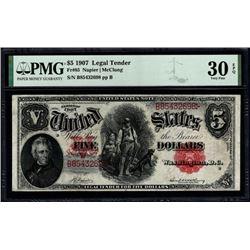 1907 $5 Legal Tender Note PMG 30EPQ