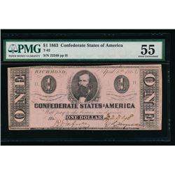1863 $1 T-62 Confederate States of America PMG 55