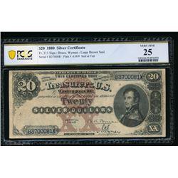 1880 $20 Silver Certificate PCGS 25