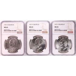 Lot of (3) 1971-S Eisenhower Silver Dollar Coins NGC MS65