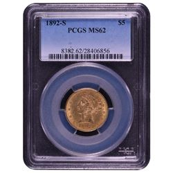 1892-S $5 Liberty Gold Coin PCGS MS62