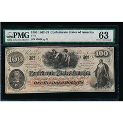 1862-63 $100 T-41 Confederate PMG 63
