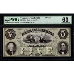1850's $5 Clarksville TN Note PMG 63