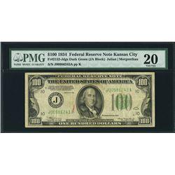 1934 $100 Kansas City FRN PMG 20