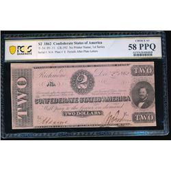 1862 $2 T-54 Confederate PCGS 58PPQ