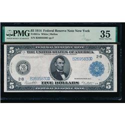 1914 $5 New York FRN PMG 35