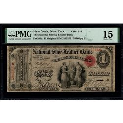 Original Series $1 National Shoe and Leather Bank Note PMG 15