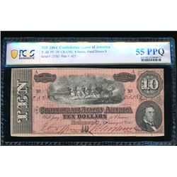 1864 $10 T-68 Confederate PCGS 55PPQ
