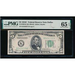 1934C $5 Dallas Federal Reserve Note PMG 65EPQ