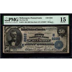 1902 $50 McKeesport PA PMG 15